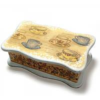 """Шкатулка для чайных пакетов """"Чашки"""" (26.5х15.5х9.5) ольха, липа"""