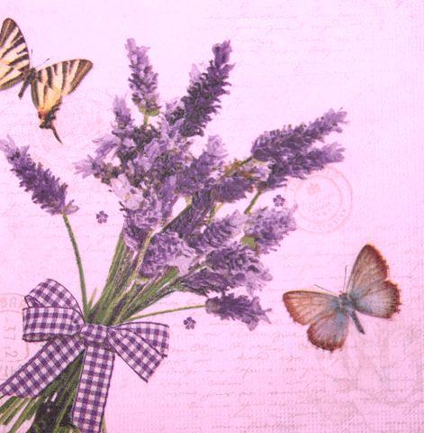 Салфетки для декупажа Лаванда и бабочки 2997