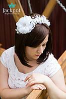 Білий обруч квітка із тканини мереживо вишивка бісером ручна робота