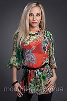 Блуза женская с поясом красивой расцветки