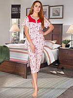 Пижама (футболка и капри) (Белый с красным)