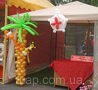 Оформление шарами палатки для акции - консультация доктора
