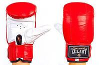 Снарядные перчатки кожаные ZELART(M-XL) ZB-4001-R красный-белый
