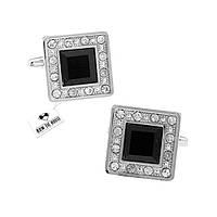 Запонки Bow Tie House изящные квадратные с черным камнем 05995