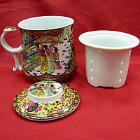 """Чашка заварочная с ситом 300мл """"Две девушки"""" h-9cм, Ø 8см (22614)"""