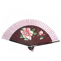 Веер бамбук с шелком с рисунком 21,5см (24691D)