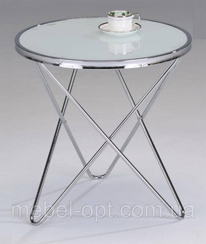 Кофейный столик ST-6264-E, круглый стеклянный столик на металлических ножках, белый 54,5см диаметр