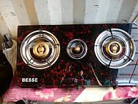 Газовая стеклянная плитка BESSE (3 конфорки), фото 1