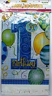 """Скатерть праздничная  полиэтиленовая голубая на 1-й  День Рождения""""MY 1ST BIRTHDAY"""""""