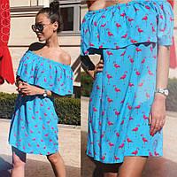 Женское летнее мини платье фламинго