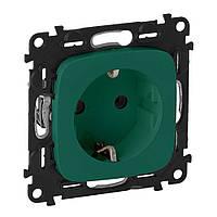 Legrand Valena ALLURE Розетка 2К + З 16А 250В со шторками, автоматические клеммы Зеленый (754982), фото 1