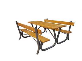 Садовый стол + лавки со спинками (Rud TM)