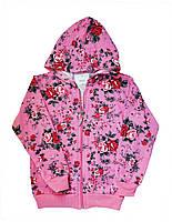 Кофта детская на молнии с капюшоном для девочек. размеры 5-8 лет