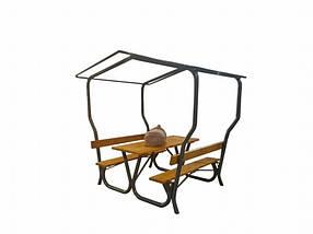 Садовый стол с лавками + конструкция под тент (Rud TM)