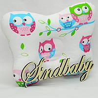 """Подушка с ортопедическими свойствами для новорожденных """"Совушка"""" (розовая)"""