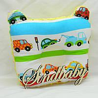 """Подушка для новорожденных """"Машинки"""", с ушками"""