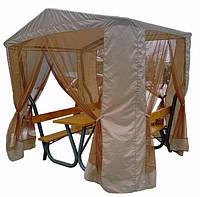 Садовый стол с лавками + конструкция под тент + тент (Rud TM)