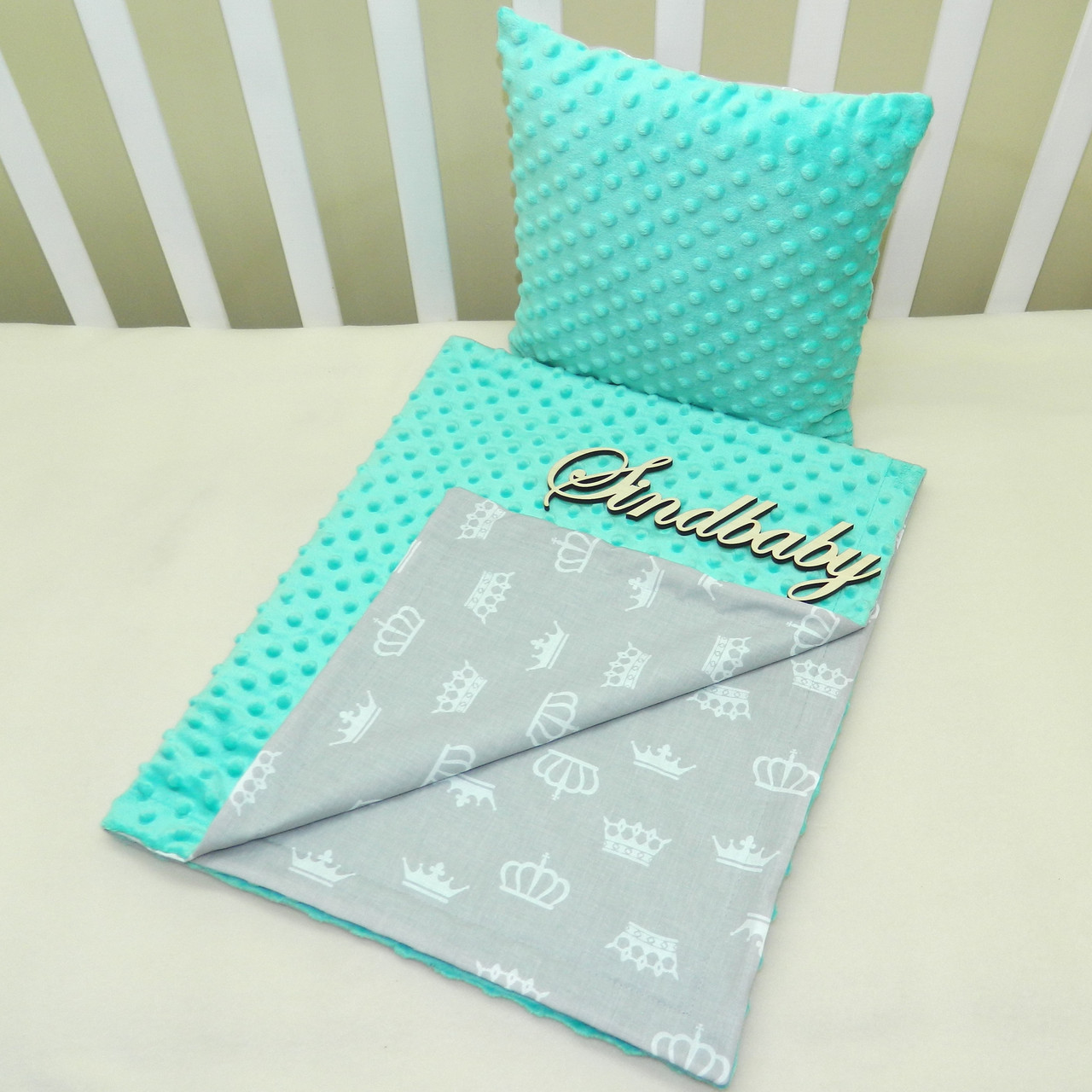 "Набор для коляски плед Minky + подушка,""Короны"", бирюзовый"