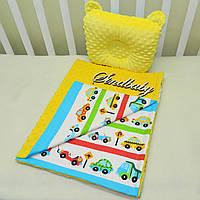 "Набор для коляски, плед Minky + подушка с ушками,""Машинки"""