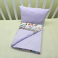 Набор в коляску одеяльце + подушка - 07