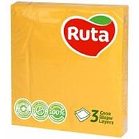 Салфетка бумажная 3-х слойная 33х33 см., 20 шт/уп желтая РУТА