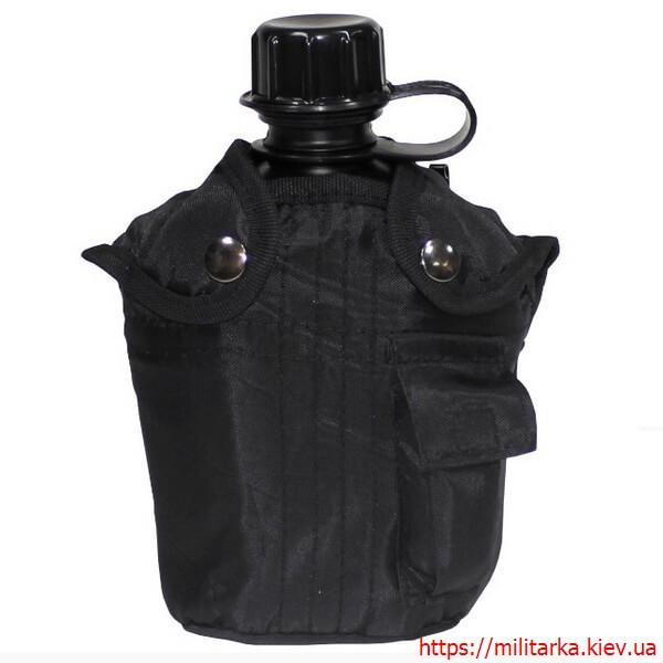 Фляга армейская в чехле MFH 1 литр черная