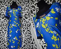 """Комфортное летнее женское платье """"масло"""" с украшением на горловине изделия 50, 52 размер баталы"""