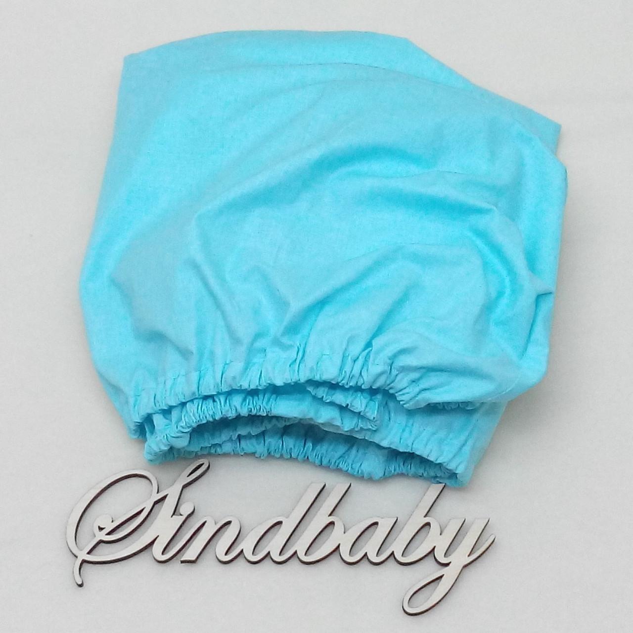 Детская простынь на резинке в кроватку, голубой однотон 60х120 см