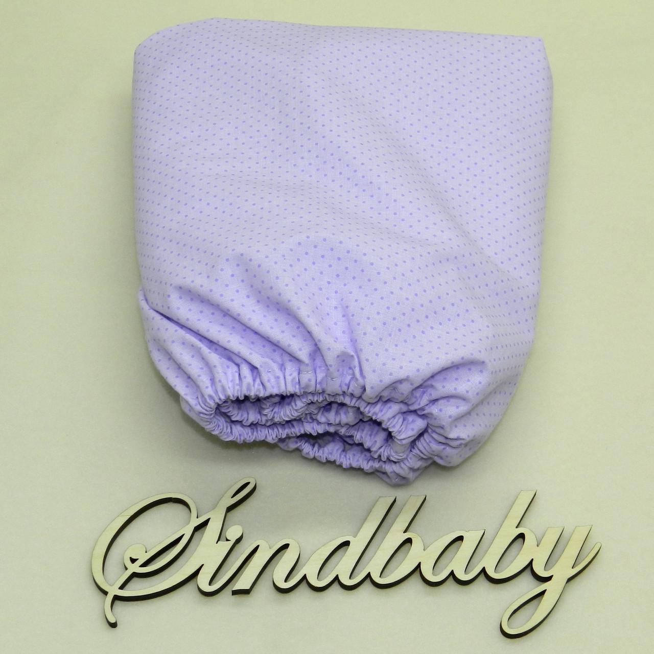 Детская простынь на резинке в кроватку, Сирень 60х120 см