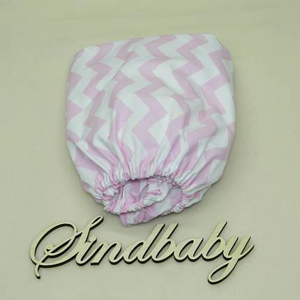 Детская простынь на резинке в кроватку, розовый Зигзаг 60х120 см, фото 2