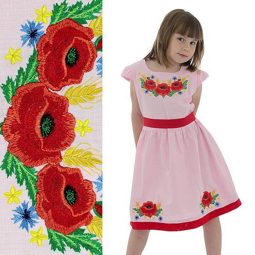 Вышитое платья девочке с маками от 4 до 13 лет