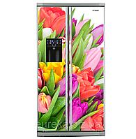 Виниловые наклейки на холодильник типа Side-by-side Тюльпаны