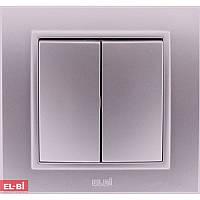 Двойной выключатель EL-BI Zena Silverline металлик (механизм)