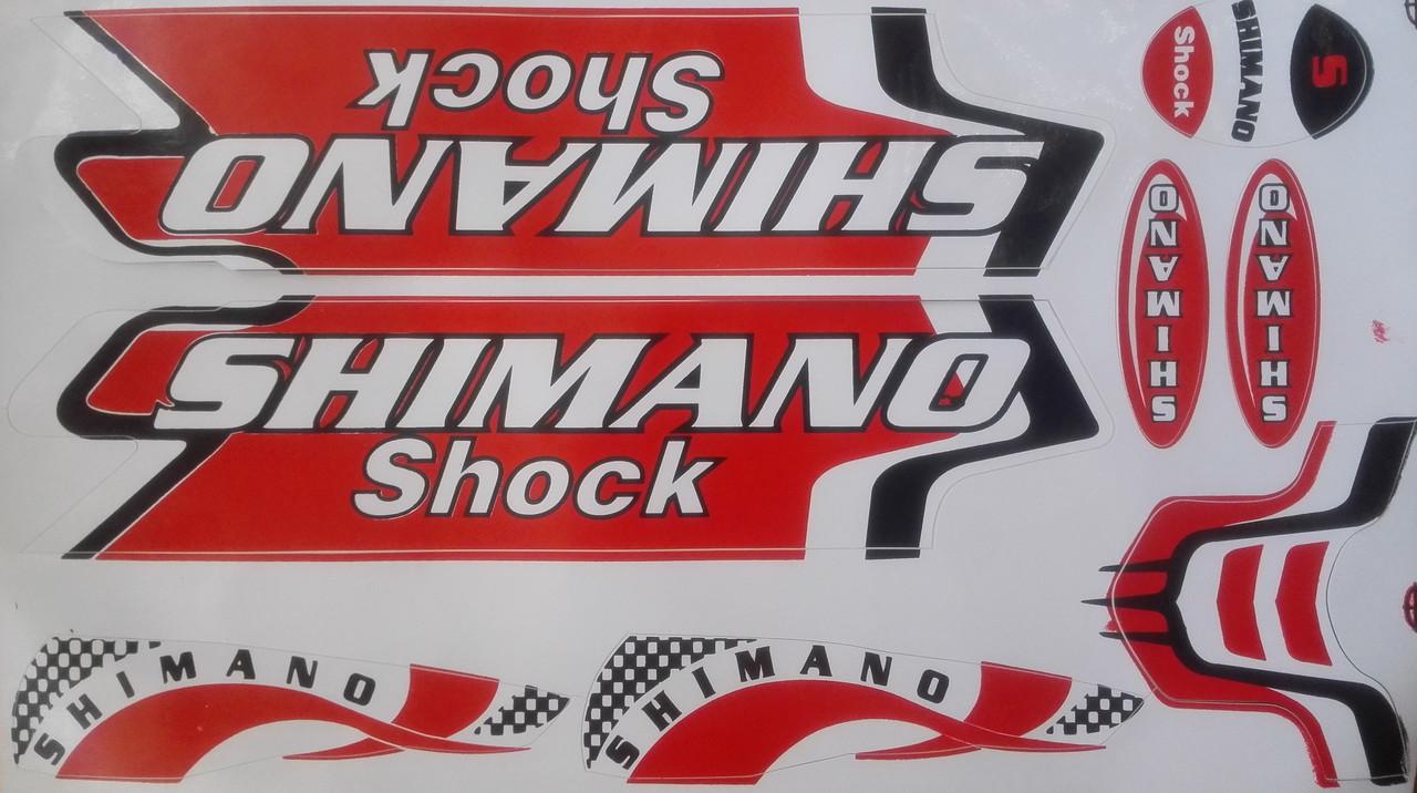 Наклейки на велосипед. Набор Shimano -  красные