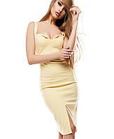 Платье набретелях с декольте(Силинаkr) желтый