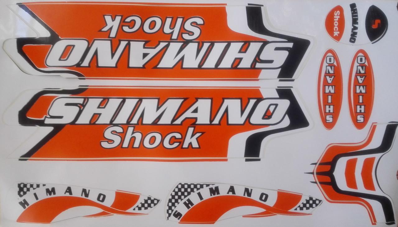 Наклейки на велосипед. Набор Shimano -  оранжевые
