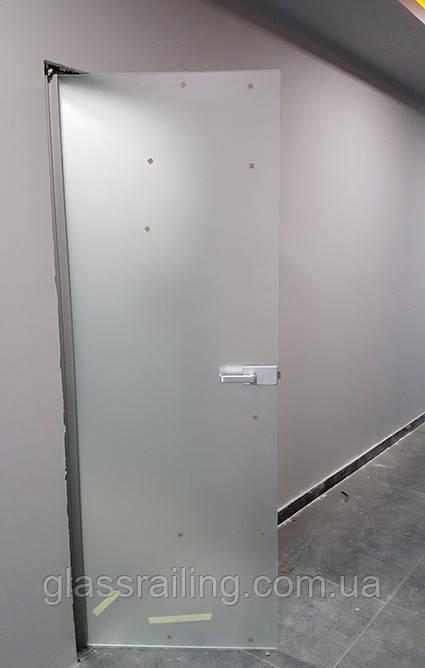 Стеклянные двери на планке-петле