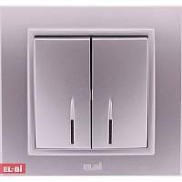 Двойной выключатель с подсветкой EL-BI Zena Silverline металлик (механизм)