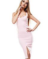 Платье набретелях с декольте(Силинаkr) розовый