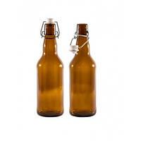 Бутылка с крышкой бугельной 500 мл. стеклянная, коричневая
