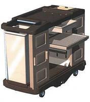Стол-теллежка для уборки пластиковый с тумбочками на колесах