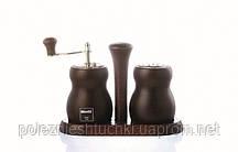 Набор для специй на подставке деревянный 3 предмета Bisetti