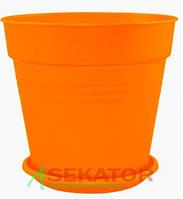 Горшок цветочный Глория 15х14,5 см оранжевый 1,6 л , Украина