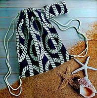 """Дизайнерская пляжная сумка-мешок  Quiet Ocean принт """"Морской узел"""""""