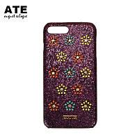 Потрясающий эксклюзивный чехол в темно цвете с блестками с декором в виде цветов для айфон 7
