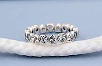 Нежное тонкое серебрянное кольцо пандора с цирконием сердечки