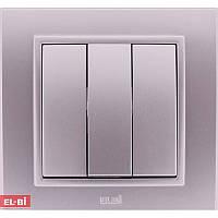 Тройной выключатель EL-BI Zena Silverline металлик (механизм)