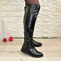 Женские кожаные демисезонные ботфорты на низком ходу, фото 1