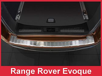 Накладка на бампер с загибом и ребрами Range Rover Evoque (нержавейка)