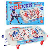 Хоккей 0700 (12шт) на штангах, фигурки 14шт, шайбы 2шт, наклейки, в кор-ке, 58,5-